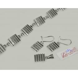Srebrny 3 częściowy komplet - kolczyki, wisiorek, bransoletka