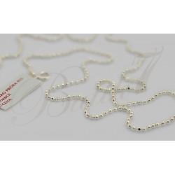 Srebrny łańcuszek - szlifowane kulki 55cm
