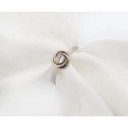 Srebrny pierścionek z białą cyrkonią