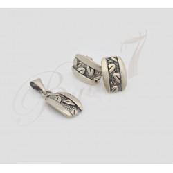 Oryginalny komplet srebrny - kolczyki + wisiorek