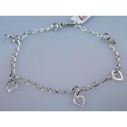 Zmysłowa srebrna bransoletka z serduszkami