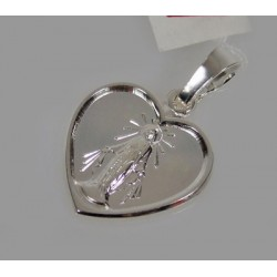 Serce - Srebrny medalik z Matką Boską