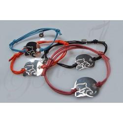 Sznurki - regulowana bransoletka z kotkiem